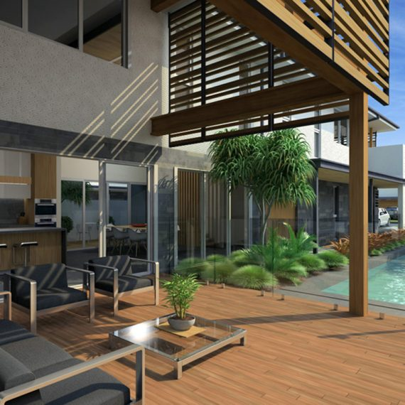 Sunshine Coast Beach New House Push Architect Sekisui House Coolum Residences Timber Batten Pool Indoor outdoor